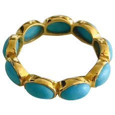 New~ 18K Gold AAA Sleeping Beauty Turquoise eternity Ring sz 7~ Limited edition