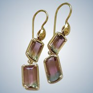 New~ 18K Gold AAA Bi-Color Tourmaline double drop Earrings~ One of a Kind