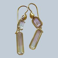 New~ 18K Gold AAA tri-color Tourmaline Earrings~ one of a kind