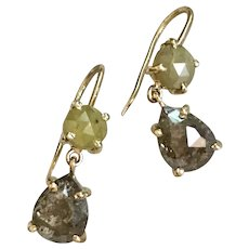 14k Solid Gold Rustic Diamond Earrings 3.1 ct.  yellow and black/grey natural diamond earrings