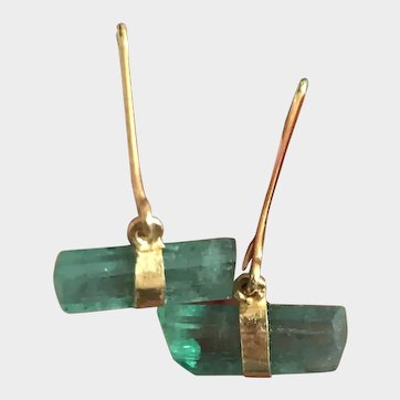 2020~ 18K solid Gold~AAA Colombian Emerald Crystal Earrings, limited edition