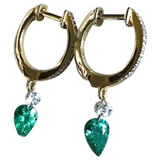 New 2020~ 18K Solid Gold~ AAA Diamond and Zambian Emerald (lever back) Earrings only one!