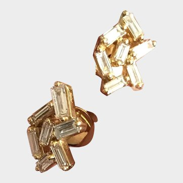 """New 2020~ 18k Solid Gold~AAA Diamond Baguette """"Celestial"""" Post Earrings Limited Edition"""