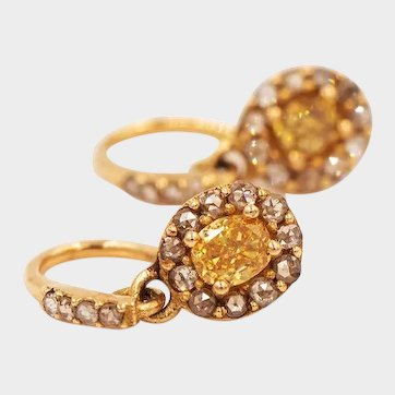 2020~18K solid Gold~AAA Yellow Sapphires with .7 ct. white diamond earrings, limited edition