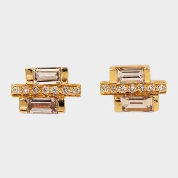 2020~18K solid Gold~ .9 ct. white diamond earrings, limited edition
