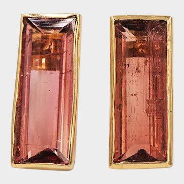 2020~18K solid Gold~Rose Pink Tourmaline Earrings, limited edition