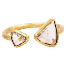 2020~18K solid Gold~Rose cut white diamond VS2, G color set Ring, limited edition