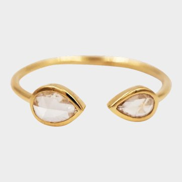 2020~18K solid Gold~Rose cut white diamond VS1, G color set Ring, limited edition