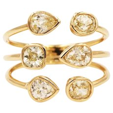 2020~18K solid Gold~Light yellow Diamonds Geometric Ring, limited edition