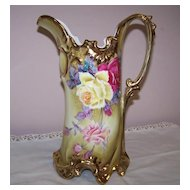 Large Nippon Hand Painted Pitcher with Roses