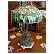 Floral Leaded Stained Glass Lamp with Bronzed Metal Base