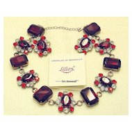 Red Vintage Signed Lilien Czech Demi Parure Necklace Earrings Set