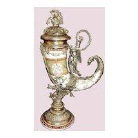 Antique White Bronze Mounted Drinking Horn ~ Dragon & Horse Motif