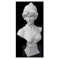 Lovely Early Art Nouveau Lady Antique Marble Bust