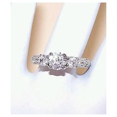 Edwardian Sterling Silver and Cubic Zirconia Engagement Ring
