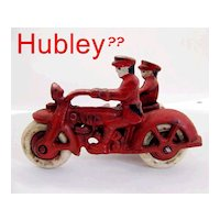 Hubley Harley Davidson Cast Iron Motorcycle and Side Car With Rider Toy