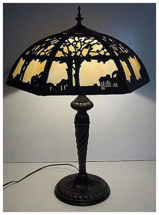Scenic Metal Slag Glass Table Lamp Forest Scene Modern