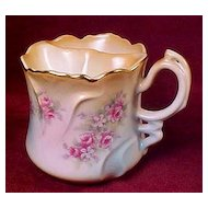 Brandenburg Shaving Mug or Cup with Ornate Handle - Pink Roses