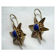 Antique Vermeil and Lapis Star Shape Earrings