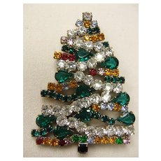 Large Vintage Czech Christmas Tree Brooch - Signed Lilien