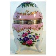 Porcelain Hinged Egg Box Marked RS