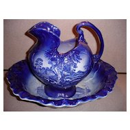 Flow Blue Homestead Pitcher and Bowl Set English