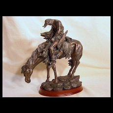 """Vintage Bronze """"End of the Trail"""" Native American Indian sculpture"""