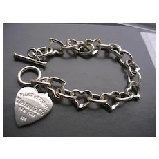 Silver Bracelet w/ Heart Charm Marked 'Tiffany'