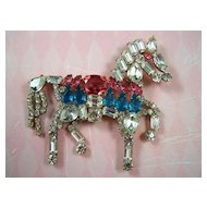 CZECH Rhinestone Prancing Horse Brooch Pin - Signed Lilien