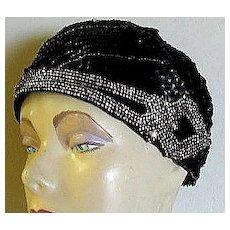 Sequined 'Flapper' Rhinestone Trim Cloche Hat and Matching 'Roaring Twenties' Headband