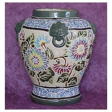 Art Pottery Vase with Lion Handles and Incised Floral Design