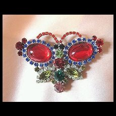 Vintage 40's/50's Signed Husár.D Rhinestone Butterfly Pin