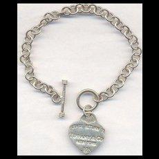 Sterling Tiffany & Co. New York Token Charm Bracelet
