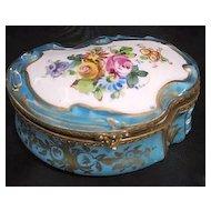 Large China Scallop Porcelain Dresser/ Vanity Box Marked Sèvres