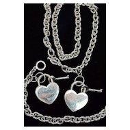 Tiffany Paretti Locking Heart Necklace & Bracelet Set