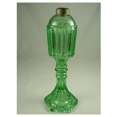 19th Century Green Glass Whale Oil Lamp