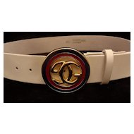 White Leather Gucci Designer Logo Belt