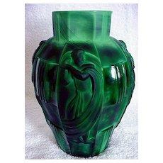 Jade Czech Glass Dance Vase