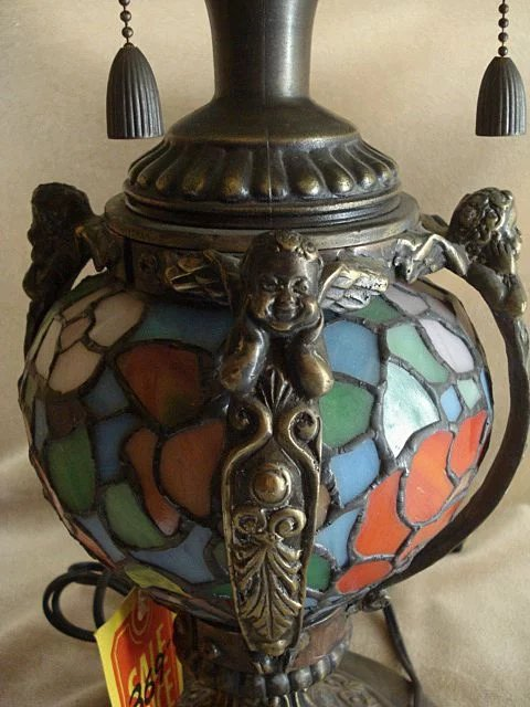 Stained Glass Four Bulb Cherub Lamp Modern Reproductions