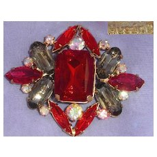 Red Rhinestone Brooch Pin Signed Husár.D