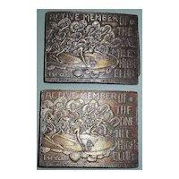 1948 One Mile High Club Bronze Belt Buckles Tiffany Studio