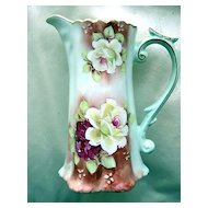 Small Pitcher with Roses and Blue Sun Bottom Mark Nippon