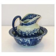 Pitcher and Bowl – Blue and White – Iron Stone