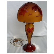 Cameo Glass Table Lamp Signed Galle