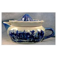 Blue and White Transferware Village Scene Juicer Reamer