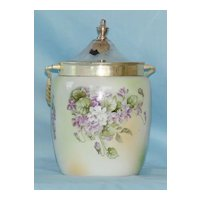R S Prussia Marked Biscuit or Cracker Jar with Violets