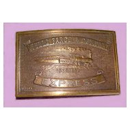 Wells Fargo Express Belt Buckle RR Train Bronze - E. Gaylord, Chicopee
