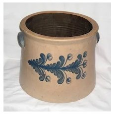 Old Stoneware Crock with Cobalt Flower Decoration