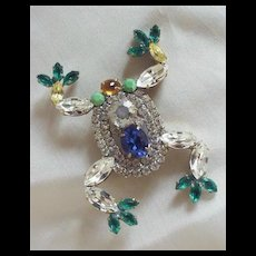 Czech Multicolor Rhinestone Frog Pin