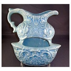 Blue Embossed Pitcher and Bowl Wall Pocket McCoy